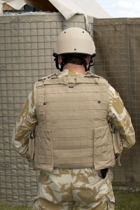 UK enhanced Mark 7 helmet and Osprey Assault body armour - Rear