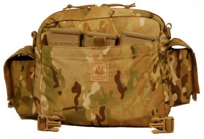 MRC E&R Bag's external flat pouches designed to discretely carry six M4 or similar sized magazines
