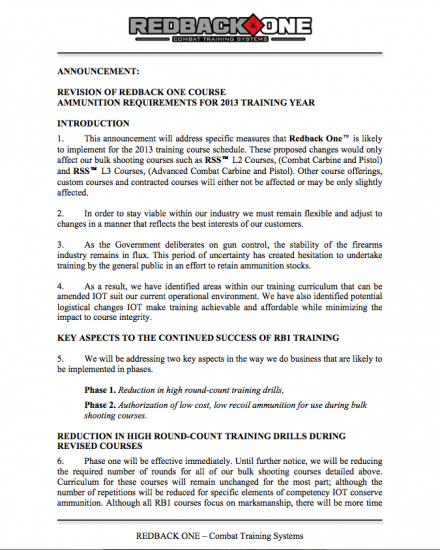 Revision of Redback One Course Ammunition Requirements for 2013
