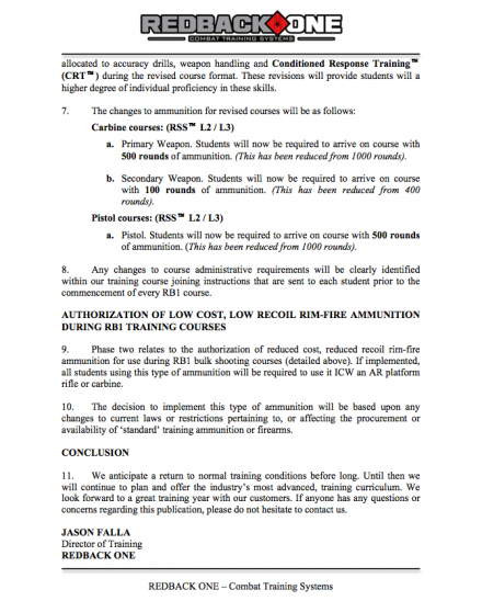Revision of Redback One Course Ammunition Requirements for 2013 page 2