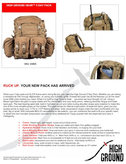 HG 5 Day Pack