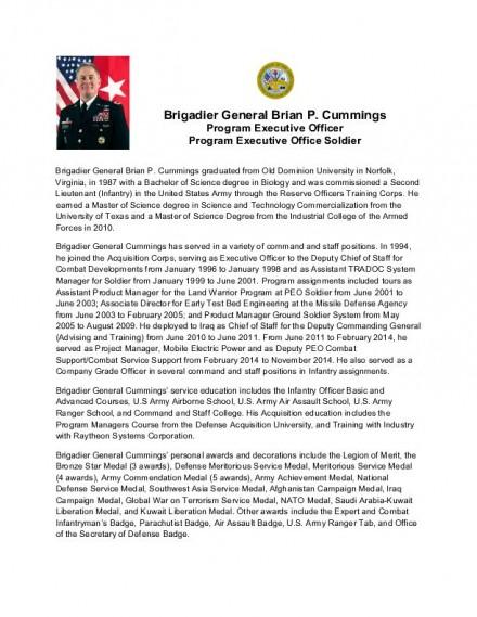 PEO Soldier BG Cummings Biography