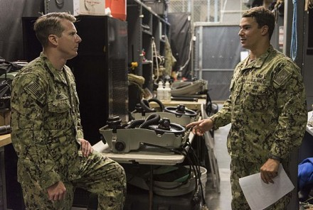VIRGINIA BEACH, Va. (Aug. 25, 2017) Lt. Cmdr. Jason Shell, left, executive officer of Explosive Ordnance Disposal Mobile Unit (EODMU) 2, discusses operational procedures with Lt. j.g. Mike Peribonio as part of the Navywide operational pause at EODMU 2 headquarters on Joint Expeditionary Base Little Creek. EODMU 2 provides credible, combat-ready EOD forces capable of deploying anywhere, anytime in support of national interests. (U.S. Navy photo by Mass Communication Specialist 2nd Class Charles Oki/Released)