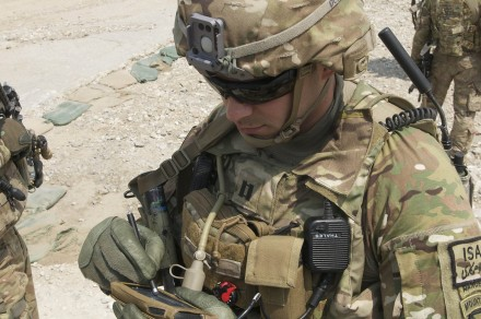 U.S. Army Capt. Jonathan Page uses the end user device of the Capability Set-13 at Nangalam Base, Sept. 13. The Dallas, Texas, native, serves as commander for Troop C, 3rd Squadron, 89th Cavalry Regiment. 3rd Squadron is part of 4th Brigade, 10th Mountain Division, based out of Fort Polk, La. (U.S. Army Photo by Sgt. 1st Class E. L. Craig, Task Force Patriot PAO)