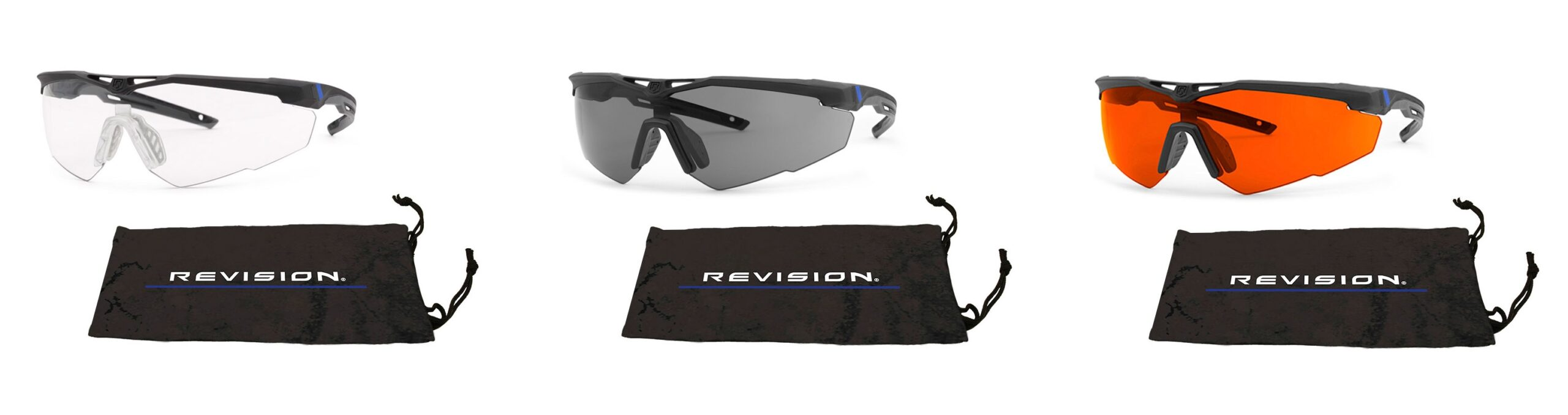 Revision's StingerHawk® Law Enforcement Edition kits offer blue-line branded frame, adjustable nosepiece, choice of clear, smoke or FT-2 laser protective lens and branded microfiber pouch. All products exceed military-spec ballistic standards, offer world-class OcuMax® anti-fog performance, and optional integrated prescription correction solution.